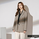 H:CONNECT 韓國品牌 女裝-復古格紋翻領西裝外套-黑