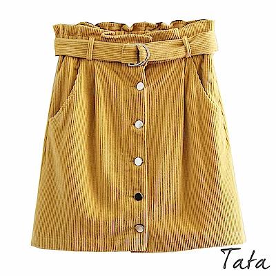 燈芯絨單排釦短裙(附腰帶) 共二色 TATA