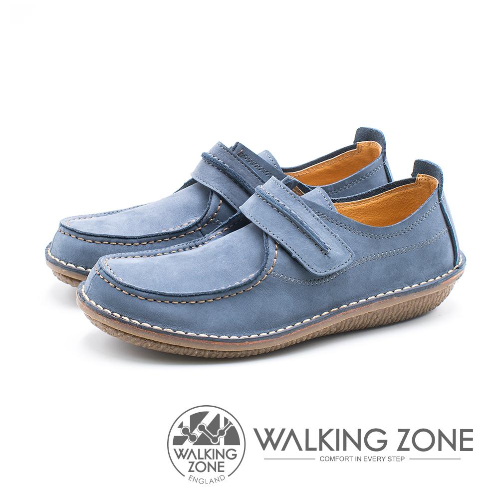 WALKING ZONE 皮革耐磨休閒鞋 男鞋 - 藍 (另有黃棕)