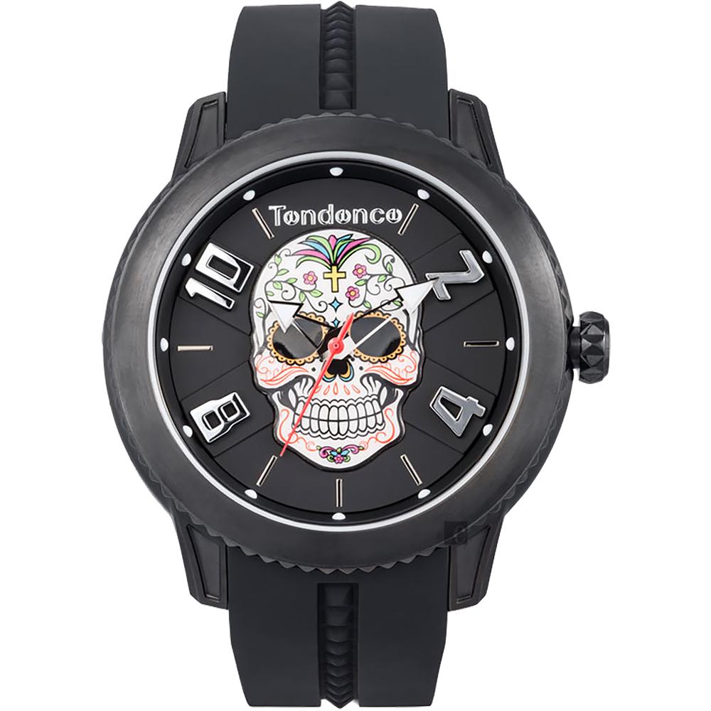 Tendence 天勢 狂歡節骷髏手錶-黑/45mm(TY013503)