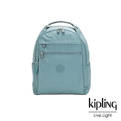 Kipling 冰霜綠多袋實用後背包-MICAH