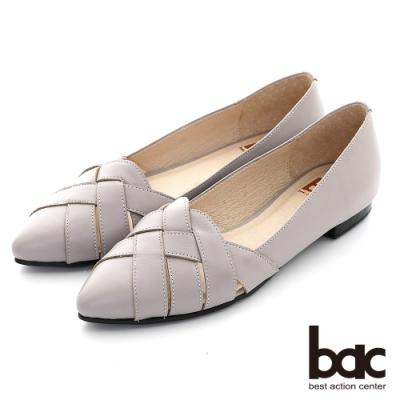 【bac】復古鏤空編織尖頭平底鞋-灰芋