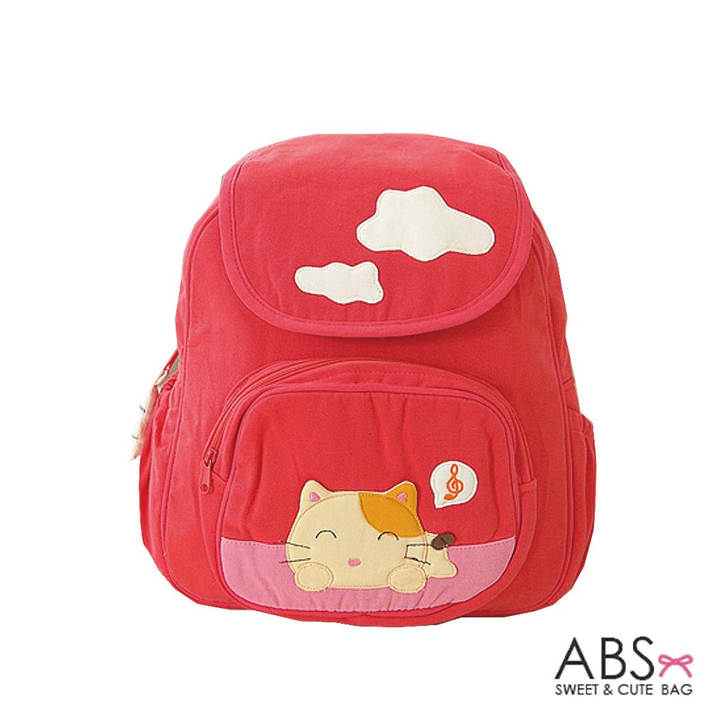 ABS貝斯貓 可愛貓咪手工拼布小型後背包(甜心粉)88-128