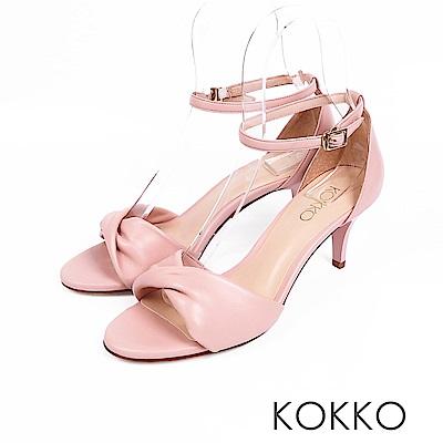 KOKKO -  女神降臨扭結繫帶真皮高跟鞋 - 珊瑚粉