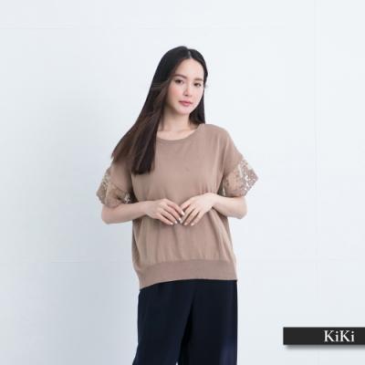 【KiKi】蕾絲衣袖拼接-針織衫(三色/版型適中/魅力商品)