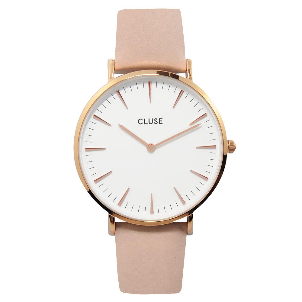 CLUSE 波西米亞玫瑰金系列 白錶盤/粉紅皮革錶帶手錶38mm