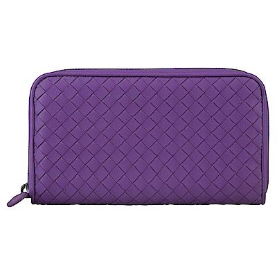 BV BOTTEGA VENETA 經典編織造型羊皮拉鍊長夾(拜占庭紫)
