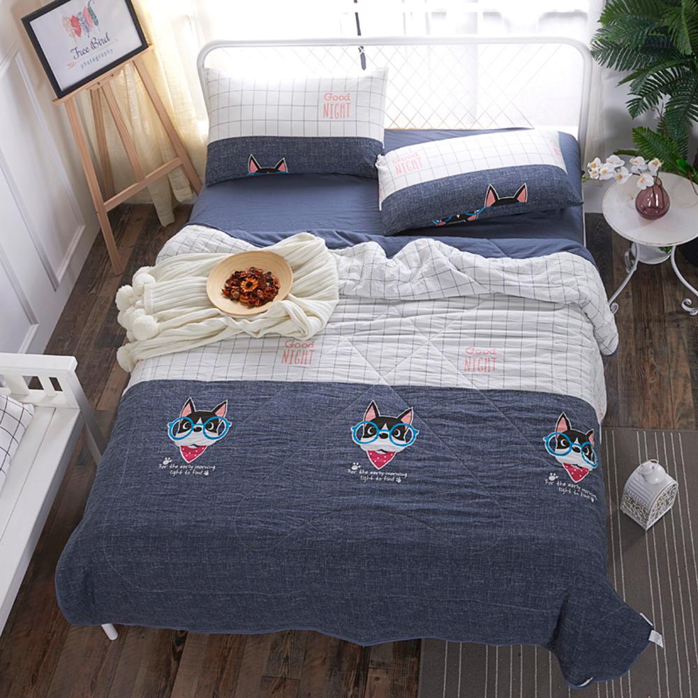 BUNNY LIFE 法鬥牛仔-雙人-水洗舒柔床包涼被組