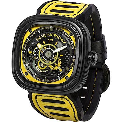 (無卡分期12期)SEVENFRIDAY 賽車車隊系列 限量機械錶-黑x黃/48mm P3B-3