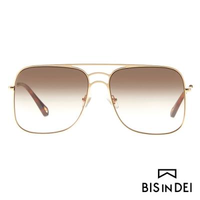 BIS IN DEI 雙槓大方框太陽眼鏡-棕