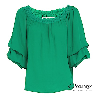 OUWEY歐薇 時尚七分澎袖兩穿雪紡上衣(綠)