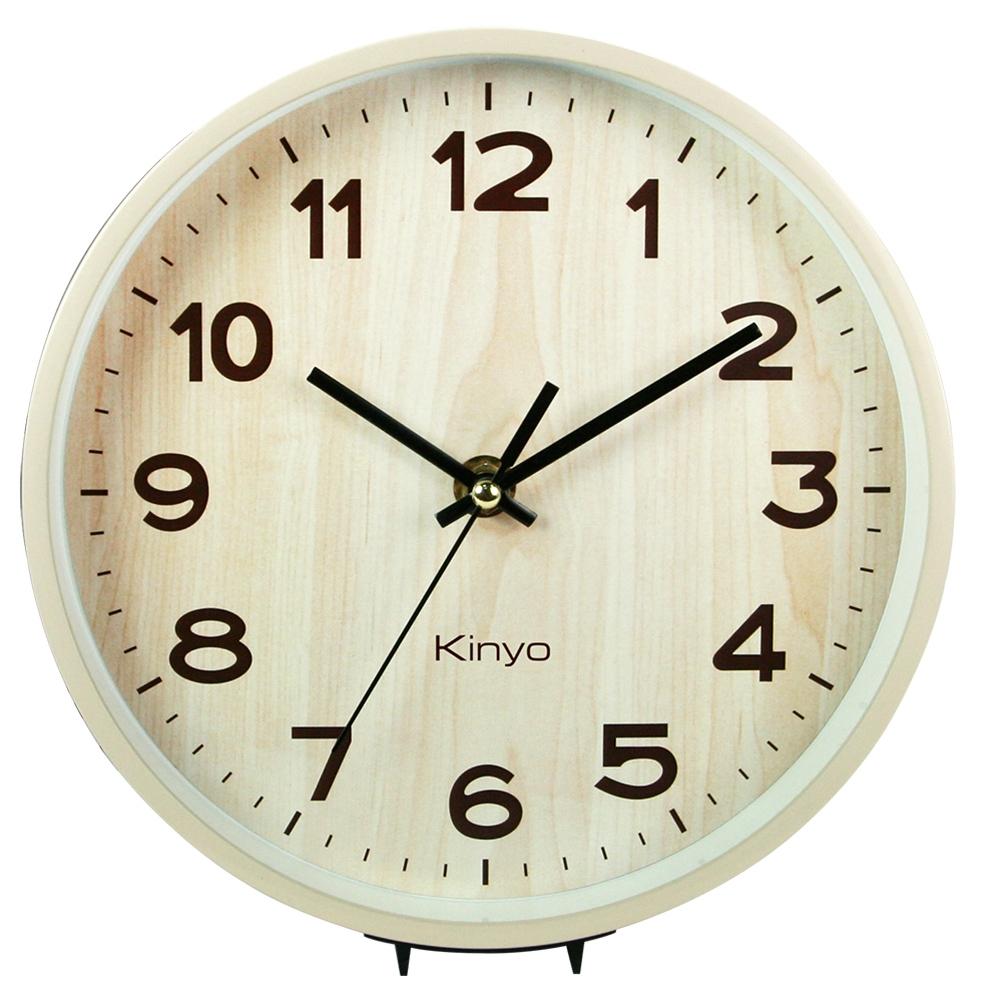 KINYO木紋風桌掛兩用鐘(水洗)CL153C