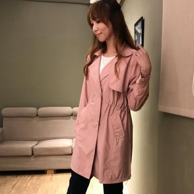 【白鵝buyer 】率性韓版抽繩雙排釦風衣_粉色(B19031)