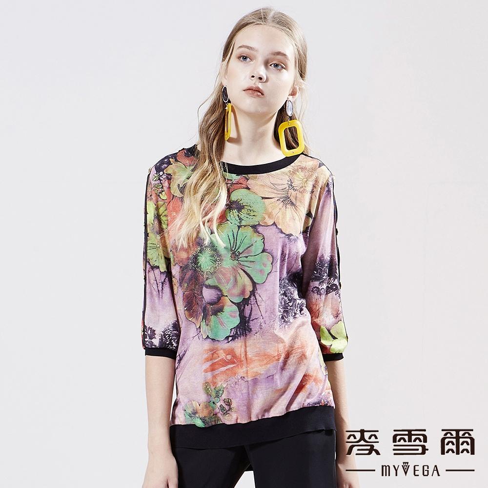 【麥雪爾】羊毛水彩花卉五分袖上衣-粉