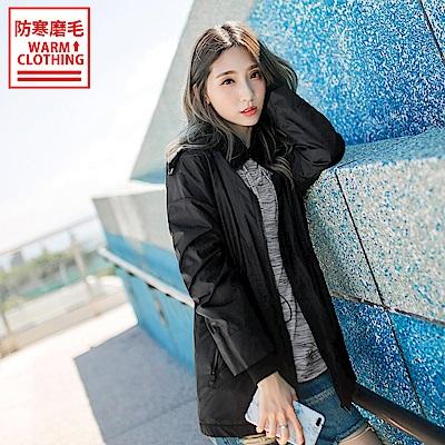 台灣製造~抗UV防潑水搖粒絨腰身連帽外套-OB大尺碼