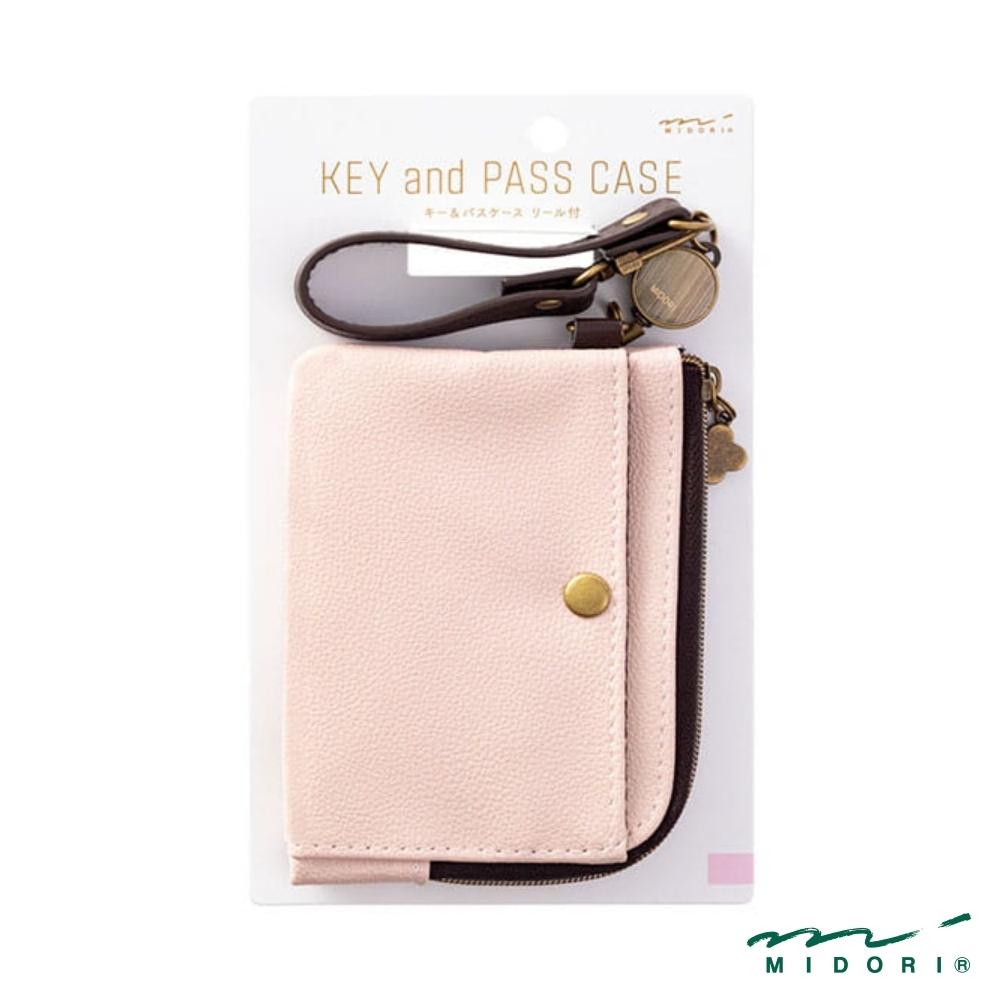 MIDORI 小物雜貨-伸縮式票夾(附鑰匙鍊)-柔彩粉(皮革)