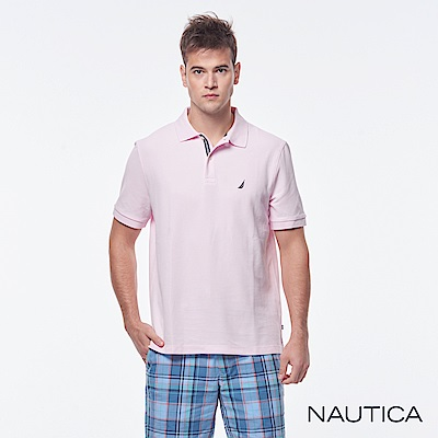 Nautica 簡約素色吸濕快乾短袖POLO衫-粉色