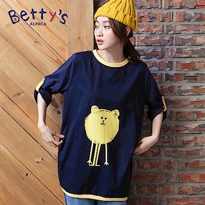 betty's貝蒂思 前後童趣印花拼接長袖T-shirt(深藍)