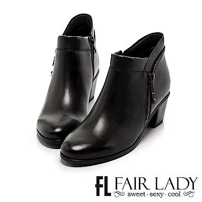 Fair Lady 率性優雅拉鍊粗跟短靴 黑