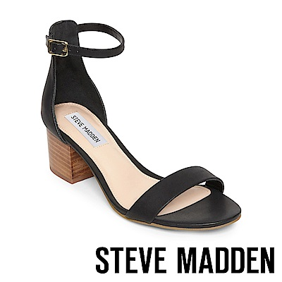 STEVE MADDEN-IRENEE-C-經典牛皮百搭粗中跟涼鞋-黑色
