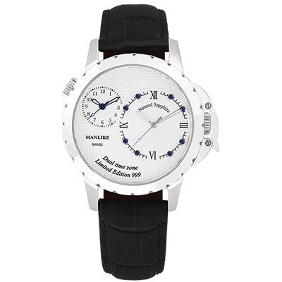 Manlike 曼莉萊克 藍寶石兩地時區限量腕錶【銀色/黑皮/白面】