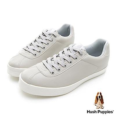 Hush Puppies 質感時尚皮質休閒鞋-淺灰