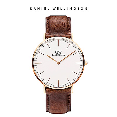DW 手錶 官方旗艦店 40mm玫瑰金框 Classic 棕色真皮皮革錶
