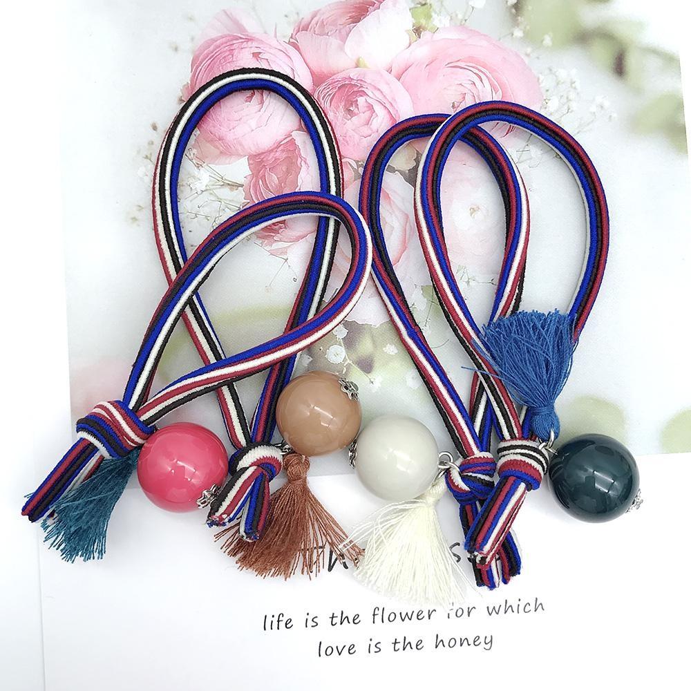 Hera 赫拉 英倫風彩色條紋流蘇球球髮圈/髮束-隨機色2入
