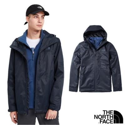 The North Face 男 3合1_防水透氣防風耐磨兩件式外套_都會藍 N