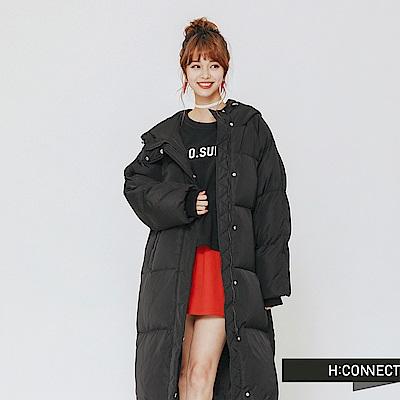 H:CONNECT 韓國品牌 女裝-連帽羽絨長版外套-黑