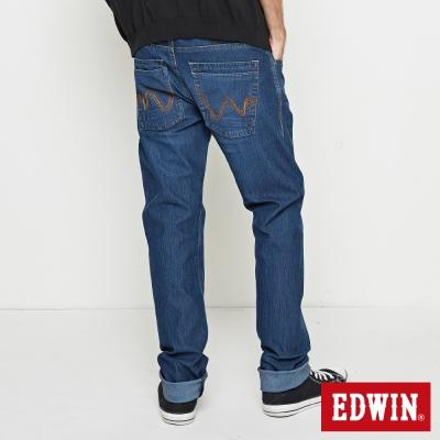EDWIN 大尺碼中直筒 迦績褲無接縫牛仔褲-男-拔洗藍