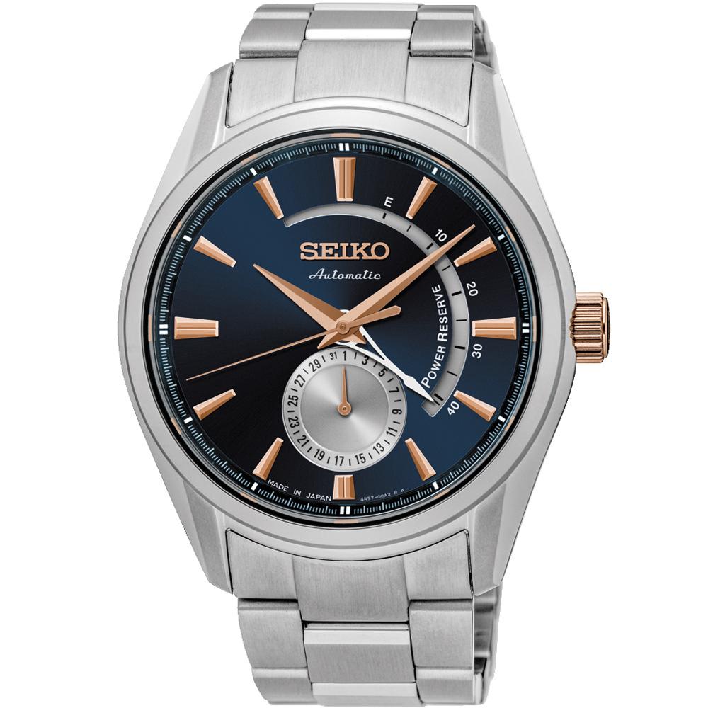 SEIKO精工 PRESAGE中央動力儲存顯示機械錶(SSA309J1)-藍/42mm