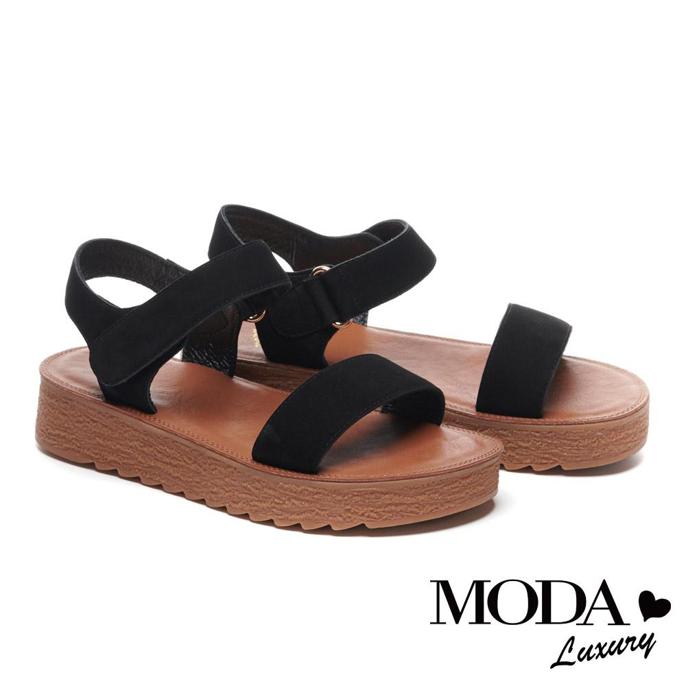 涼鞋 MODA Luxury 復古魅力純色真皮厚底涼鞋-黑