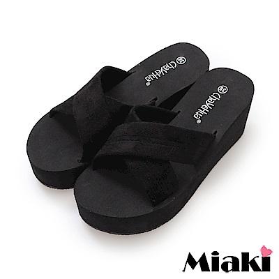 Miaki-涼拖時尚韓風坡跟拖鞋-黑色