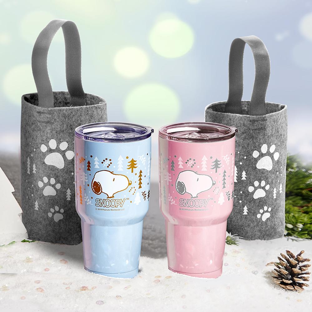 [買一送一]史努比陶瓷保溫杯套組900ml(粉) 送史努比陶瓷保溫杯套組900ml(藍)