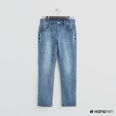 Hang Ten - 男裝 - 復古刷色微磨破牛仔長褲-藍