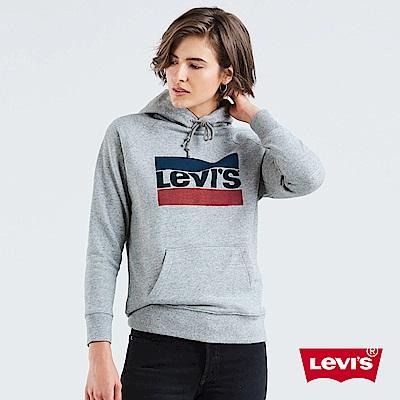 Levis 女款 重磅帽T Sportwear Logo 灰 袖口Logo 刺繡布章