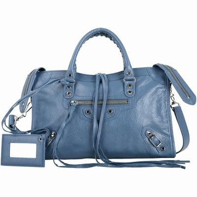 [專櫃價$67900 加碼領券再折] BALENCIAGA City S 小羊皮銀釦機車包(藍)