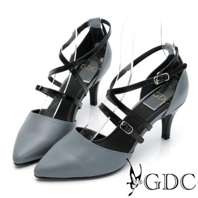GDC-歐美魅惑真皮交叉羅馬素色百搭尖頭中跟涼鞋-淺藍色