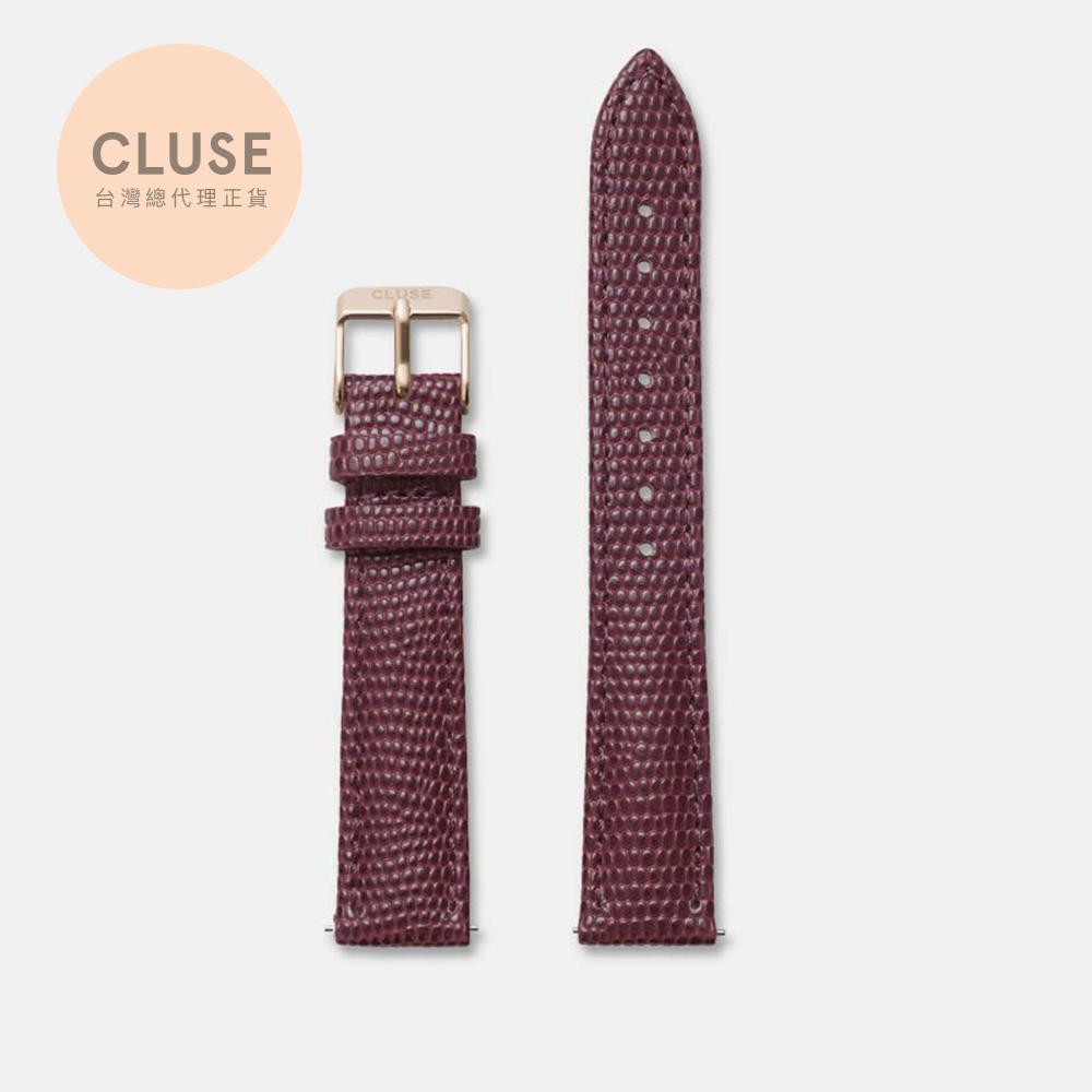 【公司貨】CLUSE Minuit 16mm 玫瑰金勃艮第酒紅壓紋錶帶(33/28.5mm錶款用)