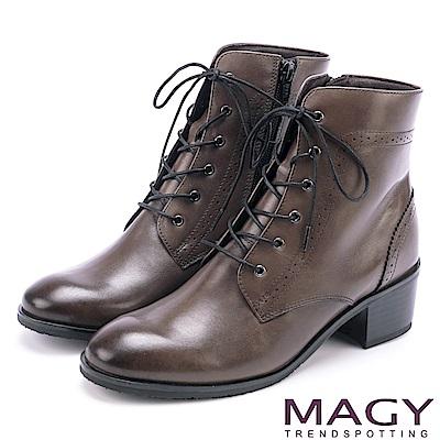 MAGY 粗曠中性帥氣 嚴選蠟感牛皮拉鍊綁帶軍靴-灰色
