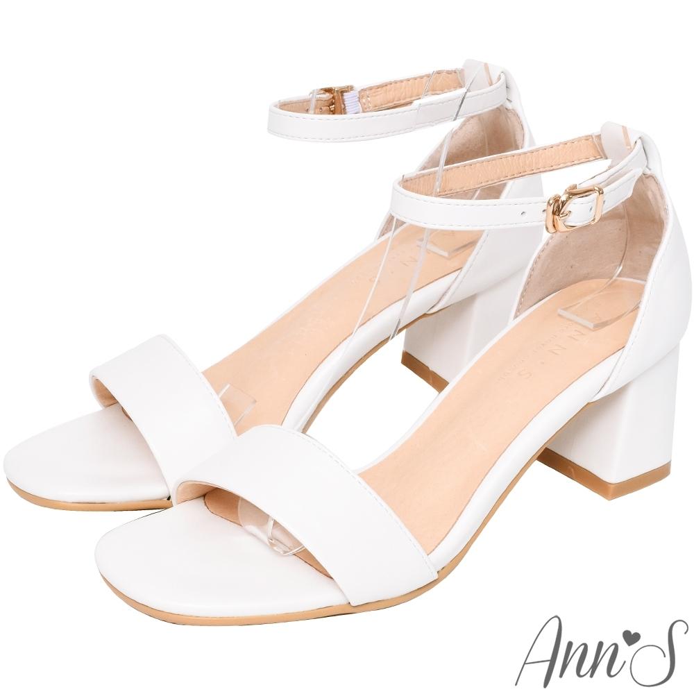Ann'S不踩雷美腿製造機一字帶涼鞋-寬帶6公分中跟-白