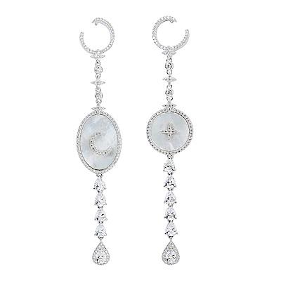 apm MONACO法國精品珠寶 閃耀銀色星月珍珠母貝不對稱耳針式長耳環