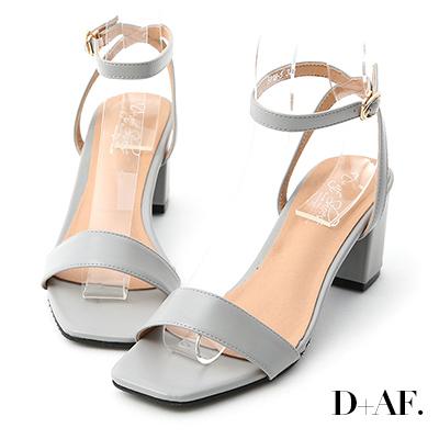 D+AF 夏日魅力.一字繫踝方頭高跟涼鞋*灰