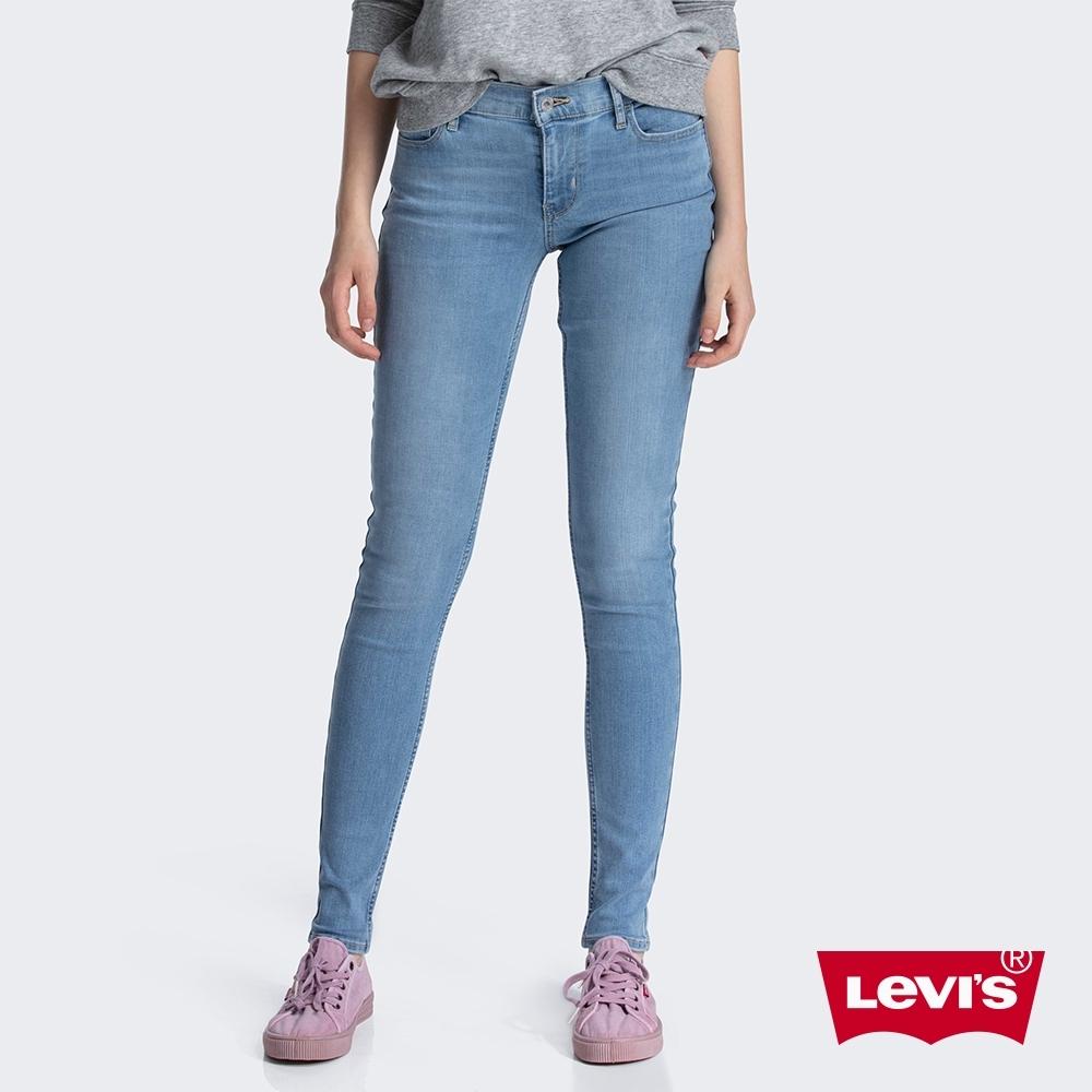 Levis 女款 710 中腰超緊身窄管 超彈力牛仔褲 淺藍水洗 Lyocell天絲棉