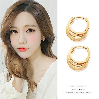 梨花HaNA  韓國925銀多層金色圈圈夢想耳環
