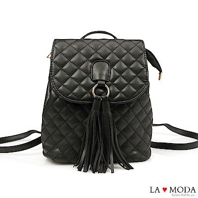 La Moda 熱銷單品小香風經典菱格紋2WAY大容量流蘇肩背後背包(黑)