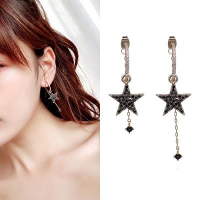 梨花HaNA 無耳洞韓國神秘黑夜星光璀璨耳環夾式