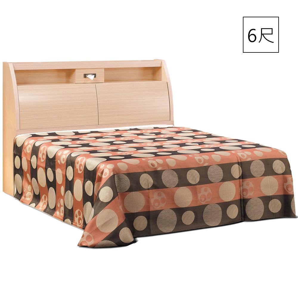 凱曼  蓋列特白橡6尺收納雙人床組(床頭箱+床底)-2件式