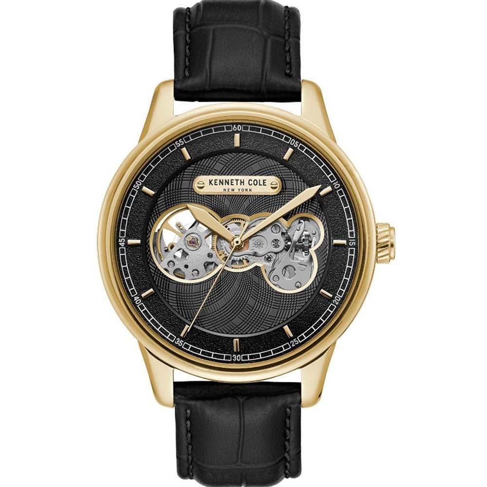 KENNETH COLE  KC51020003 自動上鍊前後鏤空機械 男錶 真皮錶帶